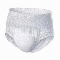 China Adult Pull-up Diaper, Cloth-like Film, Made of Nonwoven, Pulp, SAP, Soft and Breathable wholesale