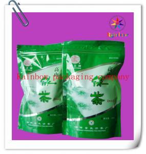 China Ziplock Bottom Gusset Plastic Bag Packaging , Green Tea Packaging Bag wholesale