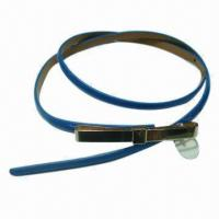 China Fashionable Fake Leather Belt with Metal Gold Clip Buckle, Customized Colors and Lengths Welcomed wholesale
