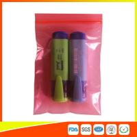 China Pink Color Antistatic Plastic Zip Lock Packaging Bags Resealable Air Tight wholesale
