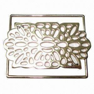 China Elegant metal buckle/slider for garment, with floral design, shiny rose gold color wholesale