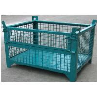 China Wheeled Lockable Pallet Cages Square Stack Legs Folds Flat For Space Saving wholesale