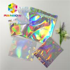 China Reusable Mylar Ziplock Cosmetic Compact Packaging Hologram Laser Gravure Printing wholesale