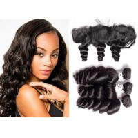 China Human Loose Wave Bundles With Frontal , Indian Lace Frontal With 3 Bundles wholesale
