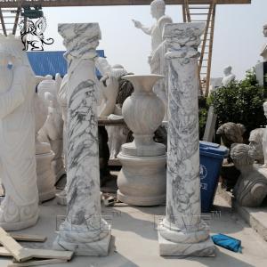 China Roman Column Marble Pillars Natural Stone Handcarved Garden Decoration wholesale