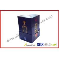 China Paper Wine Bottle Gift Box With Golden Embossed Text / Rigid White Wine Box wholesale
