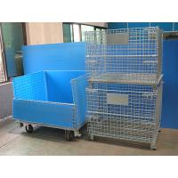 China Galvanised Foldable Pallet Wire Storage Cages Containers , Security Cages For Storage wholesale