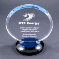 China Clear Round Acrylic Award Trophy With Laser Engraving Logo For Gift wholesale