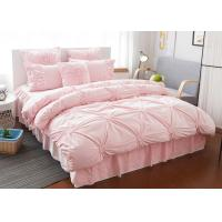 China Pink / Blue / White Ruched Home Comforter Bedding Sets 4 Pcs 100% Cotton wholesale