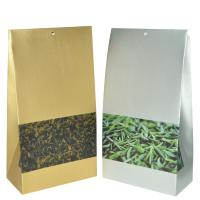 China Yellow Silvery Matte Finish Plastic Packaging Bag With Square Bpttom For Tea wholesale