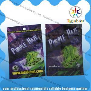 China Customized Logo Herbal Incense Zip Plastic Bags , Spice Herbal Incense Bag wholesale