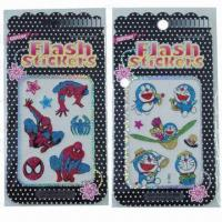 China Cartoon glitter/shinning stickers, various designs and sizes are available, eco-friendly, nontoxic  wholesale