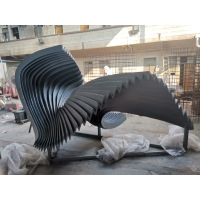 China Wave Folding Outdoor Metal Art Sculpture , Pool Installation Stainless Steel Metal Sculpture wholesale
