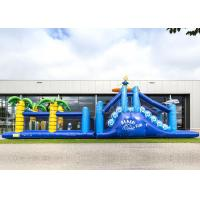 China Giant Crazy Inflatable Obstacle Race Blue Color For Kids And Adults wholesale