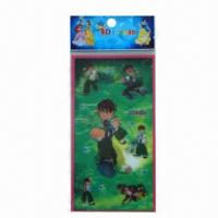 China Lenticular stickers, eco-friendly/non-toxic, OEM/ODM orders are welcome, in various designs wholesale