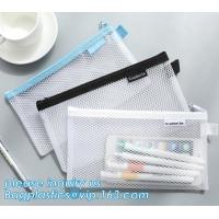 China Promotional high quality custom logo plastic mesh document bag PVC file holder bag with zipper,A4 Colorful Printed Docum on sale