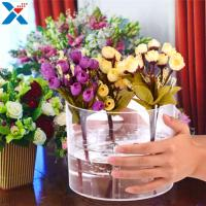 China Waterproof Acrylic Flower Box Makeup Organizer Holder Round Shape ROHS Approval wholesale