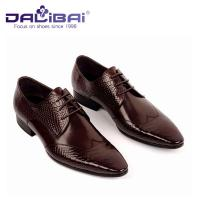 China Lace Up Man Shoes , Genuine Leather Pointed Toe Man Dress Shoes With Italy Design wholesale