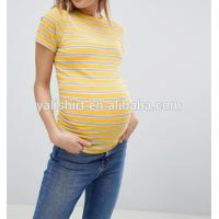 China wholesale maternity clothes Custom comfortable cheap high quality crew neck stripe blank shorts t shirts wholesale