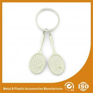 China Promotional Badminton Racket Custom Metal Keychains 9mm Length wholesale