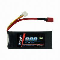 China RC Helicopter/Airplane/Car/Toys Li-Polymer Battery with High Rate Discharge, 11.1V, 15C, 3S1P, 800mA wholesale