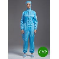 China Reuseable ESD antistatic coverall connect with hoods blue color unisex suitable for class1000 cleanroom wholesale