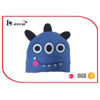 China Monster Design Warm Blue Knit Hat Three Ear Lap Washable For Childrens wholesale
