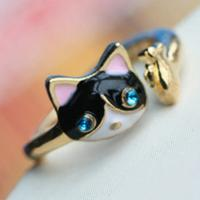 China 17 mm Size Hot Fashion New Style Classic Design Super Cute Cat and Fish Ring For Women wholesale