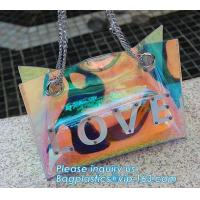 China Summer Beach Bag Vinyl PVC Transparent Small Tote Handbags Shopping Shoulder Bags, pvc waterproof shoulder beach bag, pa on sale
