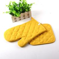 China Yellow Color AZO Free Customized Logo Printed Kitchen Oven Mitts / Silicone Oven Glove wholesale