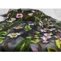 Quality French Colorful Tulle Embroidered Bridal Lace Fabric For Evening Dress With 3D Flowers for sale