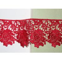 China Red Flower Embroidered Lace Trim By The Yard Environmental Protection wholesale