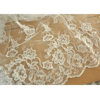 China Off White Wedding Dress Tulle Lace Fabric , Embroidery Beaded Ivory Bridal Lace Fabric wholesale