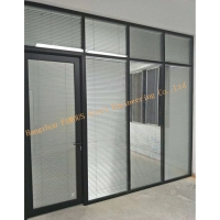 China Custom Design Portable Office Aluminum Frame Double Glass Soundproof Glass Partition Walls with Louver wholesale