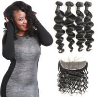 China Waterproof Brazilian Natural Hair Extensions Loose Wave Lace Frontal Closure wholesale
