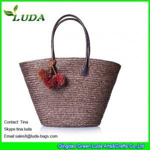 China LUDA chocalet straw handbags women tote wheat straw beach bags on sale
