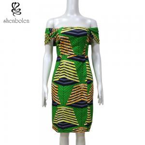 China 100 % cotton wax fabric Slash Neck African print dress Sexy Slash Neck Collar XS-XXL wholesale