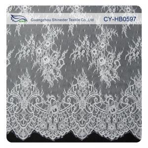 China Fashion Nylon Stretch Eyelash Ruffled Lace Trim / Embroidered Lace Fabric wholesale