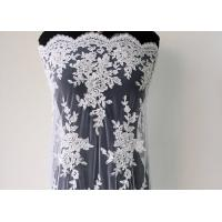 China Embroidery Pearl Floral Corded Lace Fabric , White Bridal Lace Fabric With Scalloped Edge wholesale