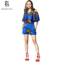 China Crop Top African Print Short Jumpsuit / Playsuit Beautiful Ankara Fabric wholesale