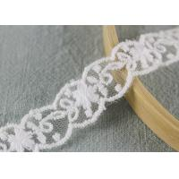 China White Cotton Nylon Lace Trim Wave Edging Floral Embroidery Lace For Bridal Dress wholesale