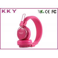 China Portable Wireless Headphones Pink , Red Bluetooth Earphones With EQ Button wholesale