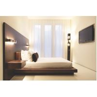 China Hotel Furniture Wood panel cleats to wall Headboard with attached Upholstered headboard and two floating nightstands wholesale