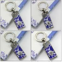Quality Blue and white porcelain Metal keychain for sale