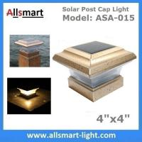 """China 4""""x4"""" inch Apricot Solar Post Cap Lights Solar Deck and Fence Lights 4"""" Gate Posts Lamps Outdoor Solar Pillar Lights wholesale"""