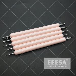 China Wooden Handle Hot Baby Pink Beauty Dotting Tools Nail Art Pen ES80 wholesale