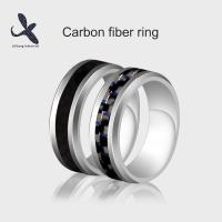 China Personalized Luxury Mens 8mm Wedding Silver Tungsten Steel Carbon Fiber Ring 2 colors on sale