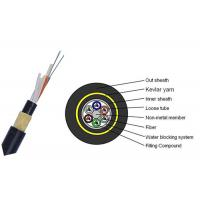 China Dry Core 24 Core Fiber Optic Cable , FRP Strength Member Single Mode Fiber Cable wholesale