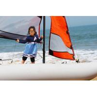 China 70KGS Inflatable Sailing Boat White Portable Pontoon Boats With 5m Mast wholesale