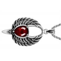 China Large Pendant Stainless Steel Pendant Necklace With Red Clear Cystal For Sweater Chain wholesale